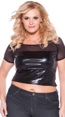 Photo of Plus Size Wet Look and Mesh Crop Top @EX4.NL Exclusive Lingerie
