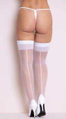 Photo of White Sheer Thigh Highs with Backseam @EX4.NL Exclusive Lingerie
