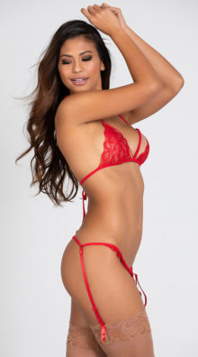 Photo of Two Piece Lacy Bra and Garter Set @EX4.NL Exclusive Lingerie