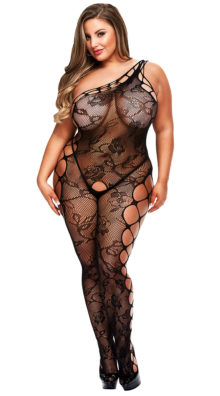 Photo of Plus Size One Shoulder Fishnet Bodystocking @EX4.NL Exclusive Lingerie