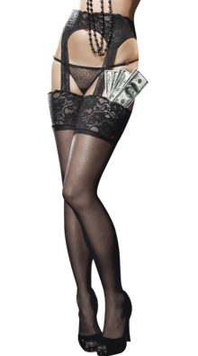 Photo of Sheer Lace Top Garter Hose with Back Seam @EX4.NL Exclusive Lingerie