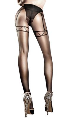Photo of Black Mesh Pantyhose with Faux Panty and Garters @EX4.NL Exclusive Lingerie