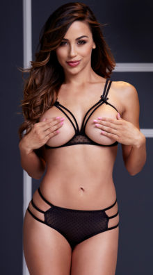 Photo of Strappy Open Cup Mesh Bra and Panty Set @EX4.NL Exclusive Lingerie