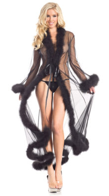 Photo of Sheer Illusion Marabou Robe @EX4.NL Exclusive Lingerie