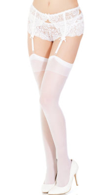 Photo of Plus Size Sheer Back Seam Thigh High Stockings @EX4.NL Exclusive Lingerie