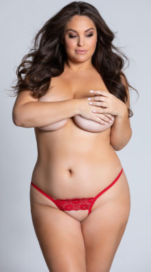 Photo of Plus Size Lace Crotchless G-String @EX4.NL Exclusive Lingerie