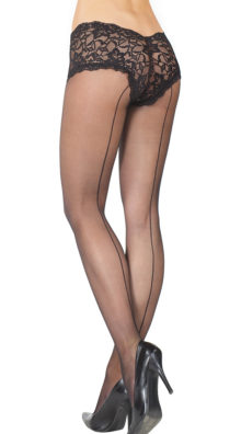 Photo of Sheer Seamed Pantyhose with Black Lace Boyshort @EX4.NL Exclusive Lingerie