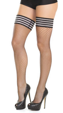 Photo of Plus Size Fishnet Striped Stockings @EX4.NL Exclusive Lingerie