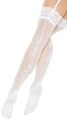 Photo of Plus Size Happy Anniversary Lace Top Stockings @EX4.NL Exclusive Lingerie