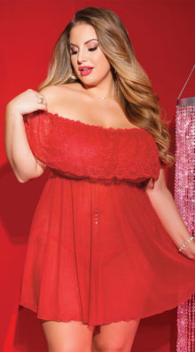 Photo of Plus Size Alluring Ruffled Babydoll Set @EX4.NL Exclusive Lingerie