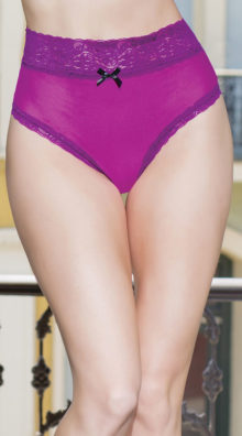 Photo of High Waisted Magenta and Lace Thong @EX4.NL Exclusive Lingerie