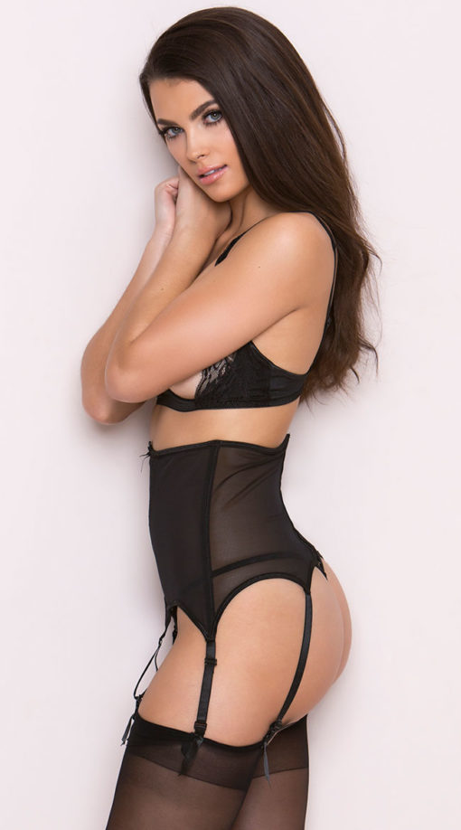 Photo of Black Mesh and Lace Garter Belt @EX4.NL Exclusive Lingerie