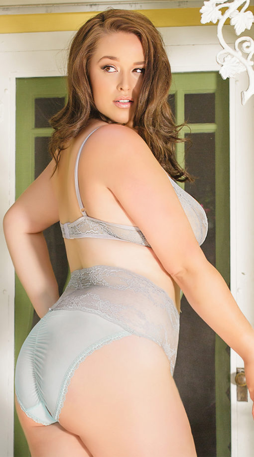 Photo of Plus Size Ultramarine Bralette and Crotchless Panty @EX4.NL Exclusive Lingerie