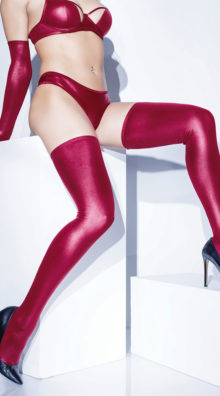 Photo of Matte Wet Look Thigh High Stockings @EX4.NL Exclusive Lingerie