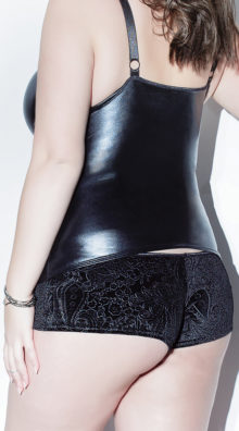Photo of Plus Size Velvet and Wet Look Booty Shorts @EX4.NL Exclusive Lingerie