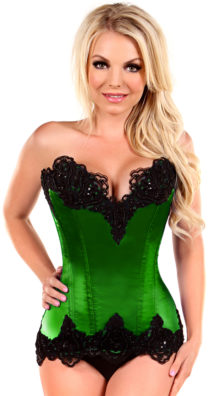 Photo of Plus Size Emerald Green Steel Boned and Beaded Corset @EX4.NL Exclusive Lingerie