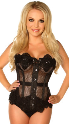 Photo of Plus Size Black Net Beaded and Steel Boned Corset @EX4.NL Exclusive Lingerie
