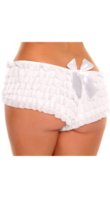 Photo of Plus Size White Ruffle Panty with Bow @EX4.NL Exclusive Lingerie