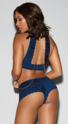 Photo of Midnight Blue and Gold Bralette Set @EX4.NL Exclusive Lingerie