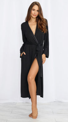 Photo of Long Black Soft Jersey Robe @EX4.NL Exclusive Lingerie