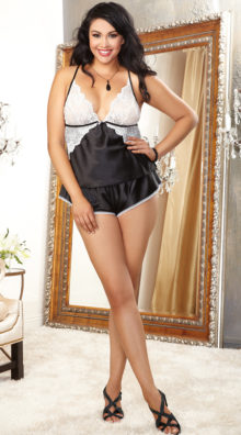 Photo of Plus Size Midnight Maven Camisole and Short Set @EX4.NL Exclusive Lingerie