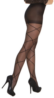 Photo of Sheer Pantyhose with Criss Cross Detail @EX4.NL Exclusive Lingerie