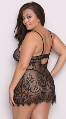Photo of Plus Size Sultry Eyelash Lace Babydoll and Robe Set @EX4.NL Exclusive Lingerie