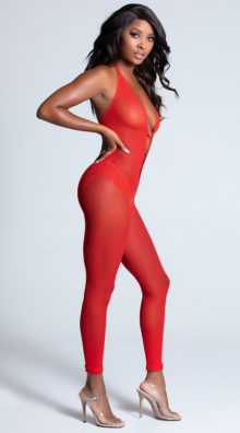 Photo of Striking Red Plunging Bodystocking @EX4.NL Exclusive Lingerie