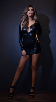 Photo of Secrets in the Night Long Sleeve Wet Look Dress @EX4.NL Exclusive Lingerie