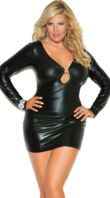 Photo of Plus Size Secrets in the Night Long Sleeve Wet Look Dress @EX4.NL Exclusive Lingerie