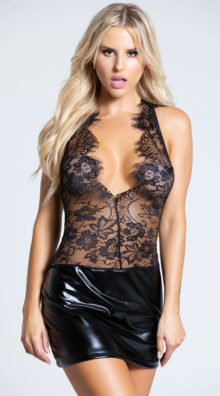 Photo of Eyelash Lace and Wet Look Mini Dress @EX4.NL Exclusive Lingerie