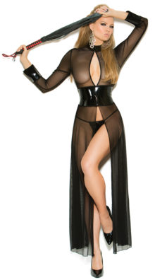 Photo of Flowing Vinyl and Mesh Open Gown Set @EX4.NL Exclusive Lingerie