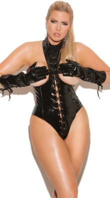 Photo of Plus Size Cupless Lace-Up Teddy @EX4.NL Exclusive Lingerie
