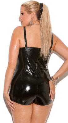 Photo of Plus Size Vinyl Romper with Lace Up Front @EX4.NL Exclusive Lingerie