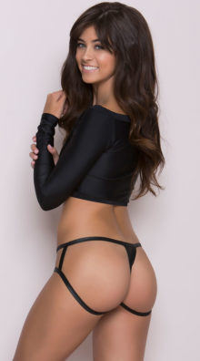 Photo of Wet Look Cage Back Thong Panty @EX4.NL Exclusive Lingerie