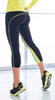 Photo of Black and Yellow Gym Capris @EX4.NL Exclusive Lingerie