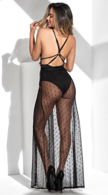 Photo of Dotted Mesh Bodysuit Gown @EX4.NL Exclusive Lingerie