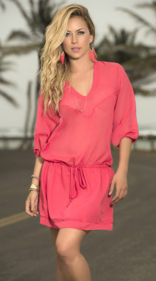 Photo of Relaxed Drawstring Coral Dress @EX4.NL Exclusive Lingerie