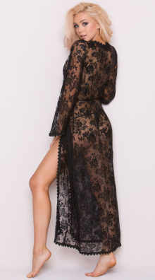Photo of Long Sheer Lace Robe @EX4.NL Exclusive Lingerie