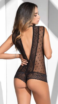 Photo of Dotted Mesh Lace Romper @EX4.NL Exclusive Lingerie