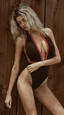 Photo of EX4 Plunging Black And Red One Piece Swimsuit @EX4.NL Exclusive Lingerie