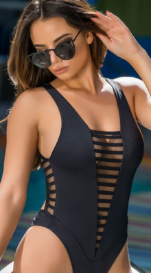 Photo of EX4 Plunging Mod One Piece Swimsuit @EX4.NL Exclusive Lingerie