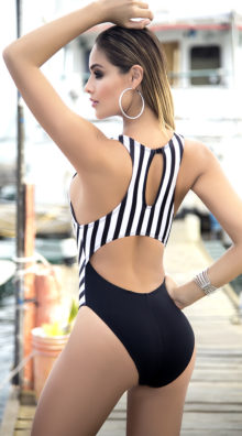 Photo of EX4 Cut-Out Striped One Piece Swimsuit @EX4.NL Exclusive Lingerie