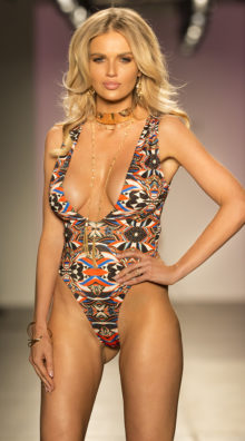 Photo of EX4 Plunging Tribal One Piece Swimsuit @EX4.NL Exclusive Lingerie