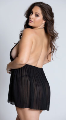 Photo of Plus Size Pleated Halter Babydoll with G-String @EX4.NL Exclusive Lingerie