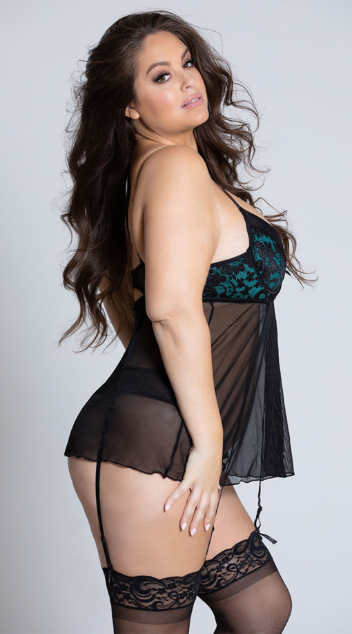 Photo of Plus Size Halle Green and Black Gartered Babydoll Set @EX4.NL Exclusive Lingerie