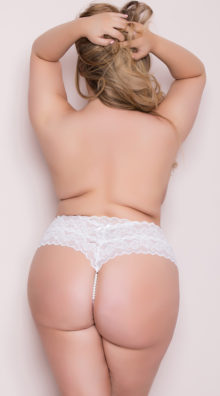 Photo of Plus Size Cheeky Lace Pearl String G-String @EX4.NL Exclusive Lingerie