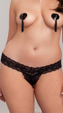 Photo of Plus Size Crotchless Scallop Lace Thong @EX4.NL Exclusive Lingerie