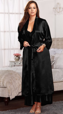 Photo of Plus Size Long Satin and Lace Trimmed Robe @EX4.NL Exclusive Lingerie