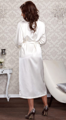 Photo of Long Satin and Lace Trimmed Robe @EX4.NL Exclusive Lingerie